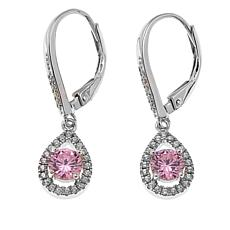 Absolute™ 1.25ctw CZ Pink and Clear Pear-Shaped Halo Earrings