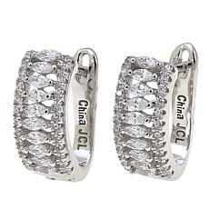 Absolute™ 1.28ctw CZ Marquise and Round Sterling Silver Hoop Earrings