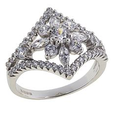 Absolute™ 1.38ctw CZ Sterling Silver Triangular Flower Ring