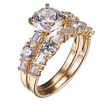 Absolute™ 14K Cubic Zirconia Round and Baguette Bridal Ring Set