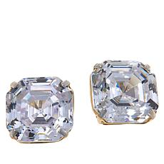 Absolute™ 14K Gold Cubic Zirconia Asscher-Cut Earrings - 12ctw