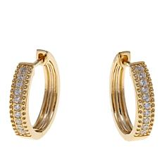 Absolute™ 14K Round Stone Hugger Hoop Earrings