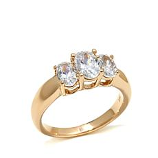 Absolute™ 1.75ctw Raised Oval 3-Stone 14K Gold Ring