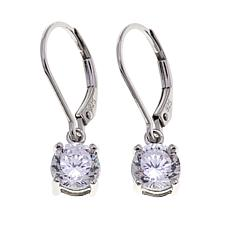 Absolute™ 1.80ctw CZ Sterling Silver 100-Facet Round Drop Earrings