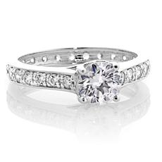 Absolute™ 1ctw CZ  Round Solitaire Eternity-Style Ring