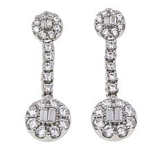 Absolute™ 2.15ctw CZ Sterling Silver Round Station Drop Earrings