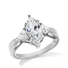 Absolute™ 2.5ctw Cubic Zirconia Triangular-Accent Ring