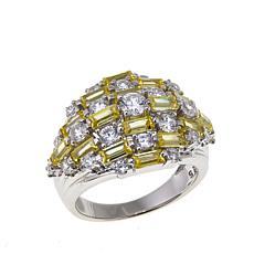 Absolute™ 2.67ctw CZ Baguette and Round Canary and Clear Dome Ring