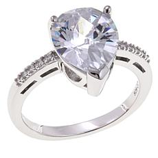 Absolute™ 2.80ctw CZ Sterling Silver Clear Pear and Pavé Ring