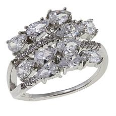 Absolute™ 2.84ctw CZ Sterling Silver Round and Pear 4-Row Ring