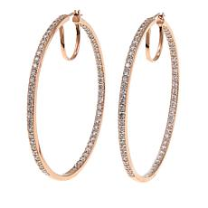 Absolute™ 3.48ctw CZ Rose Gold-Plated Inside-Outside Hoop Earrings