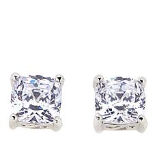 Absolute™ 3ctw CZ Aurora Star 101 Facets Platinum-Plated Cushion Studs