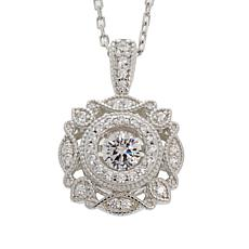 "Absolute™ .42ctw Dancing CZ Round Geometric Pendant with 18"" Chain"