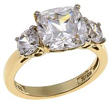 Absolute™ 4.50ctw Cubic Zirconia Cushion and Round 3-Stone Ring