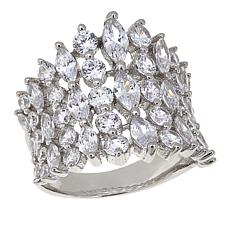 Absolute™ 4.75ctw CZ Sterling Silver Marquise and Round Shield Ring