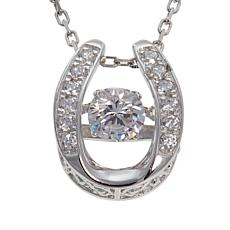 """Absolute™ .47ctw Dancing CZ Horseshoe Pendant with 18"""" Chain"""