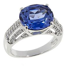 Absolute™ 5.29ctw CZ and Created Blue Sapphire Oval Ring