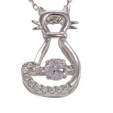 """Absolute™ .62ctw Dancing CZ Cat Pendant with 18"""" Chain"""