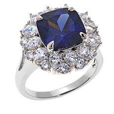 Absolute™ 7.12ctw CZ and Simulated Blue Sapphire Ring