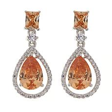 Absolute™ Clear and Champagne CZ Halo Pear Drop Earrings