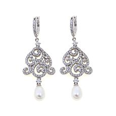 Absolute™ Cubic Zirconia & Cultured Pearl Lace Earrings