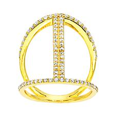 Absolute™ Cubic Zirconia Baguette and Pavé Link-Style Eternity Ring