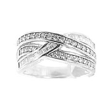 Absolute™ Cubic Zirconia Baguette and Round Overlapping Rows Band Ring