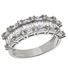 Absolute™ Cubic Zirconia Emerald-Cut and Round 3-Row Band Ring