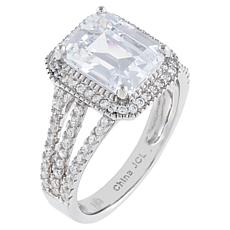 Absolute™ Cubic Zirconia Emerald-Cut Split-Shoulder Halo Ring