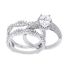 Absolute™ Cubic Zirconia Oval with Twist Sides Guard Ring 2pc Set