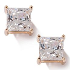 Absolute™ Cubic Zirconia Princess-Cut 4-Prong Gold-Plated Earrings