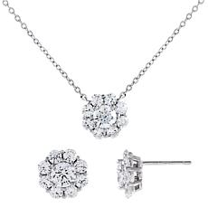 Absolute™  Cubic Zirconia Round Floral Pendant and Chain with Earrings