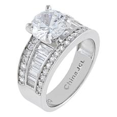 Absolute™  Cubic Zirconia Round with Baguette and Rounds Sides Ring