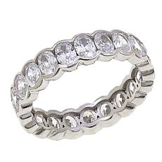 Absolute™ Cubic Zirconia Sterling Silver Bezel-Set Oval Eternity Ring