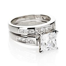 Absolute™  Cubic Zirconia Sterling Silver Princess and Round Ring Set