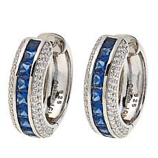 Absolute™ CZ and Blue Stone Sterling Silver Hugger Hoop Earrings