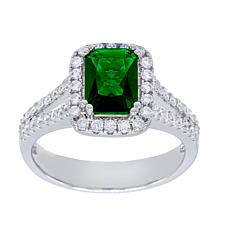 Absolute™ CZ and Simulated Emerald Emerald-Cut Halo Solitaire Ring