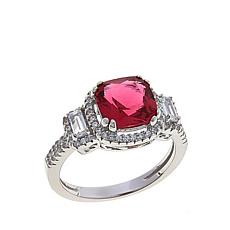 Absolute™ CZ and Simulated Ruby Sterling Silver Pavé Frame Ring