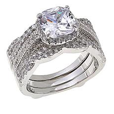 Absolute™ CZ Round with Twist Sides 2-piece Guard Ring Set