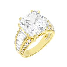 Absolute™ Gold-Plated Cubic Zirconia Princess with Channel Sides Ring