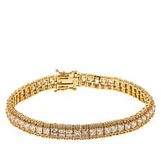 Absolute™ Gold-Plated Princess and Round Tennis Bracelet