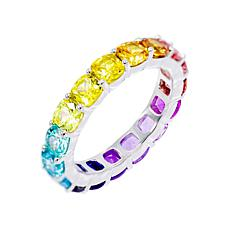 Absolute™ Rainbow Cubic Zirconia Cushion-Cut Eternity Ring