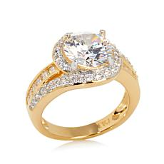 Absolute™ Round Cubic Zirconia Baguette Pavé Sides Gold-Plated Ring