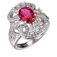 Absolute™ Simulated Ruby and Cubic Zirconia Oval Openwork Ring