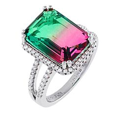 Absolute™ Simulated Watermelon Tourmaline Emerald-Cut  Solitaire Ring
