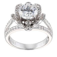 Absolute™ Sterling Silver 2.54ctw Cubic Zirconia Floral Bloom Ring