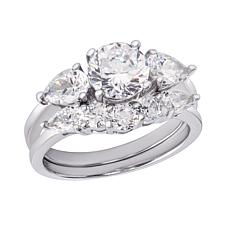 Absolute™ Sterling Silver Cubic Zirconia 2-piece Bridal Ring Set