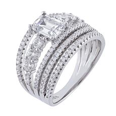 Absolute™ Sterling Silver Cubic Zirconia Asscher-Cut Multi-Row Ring
