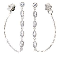 Absolute™ Sterling Silver Cubic Zirconia Chain-Link Station Earring