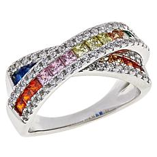 Absolute™ Sterling Silver Cubic Zirconia Channel-Set Rainbow X Ring